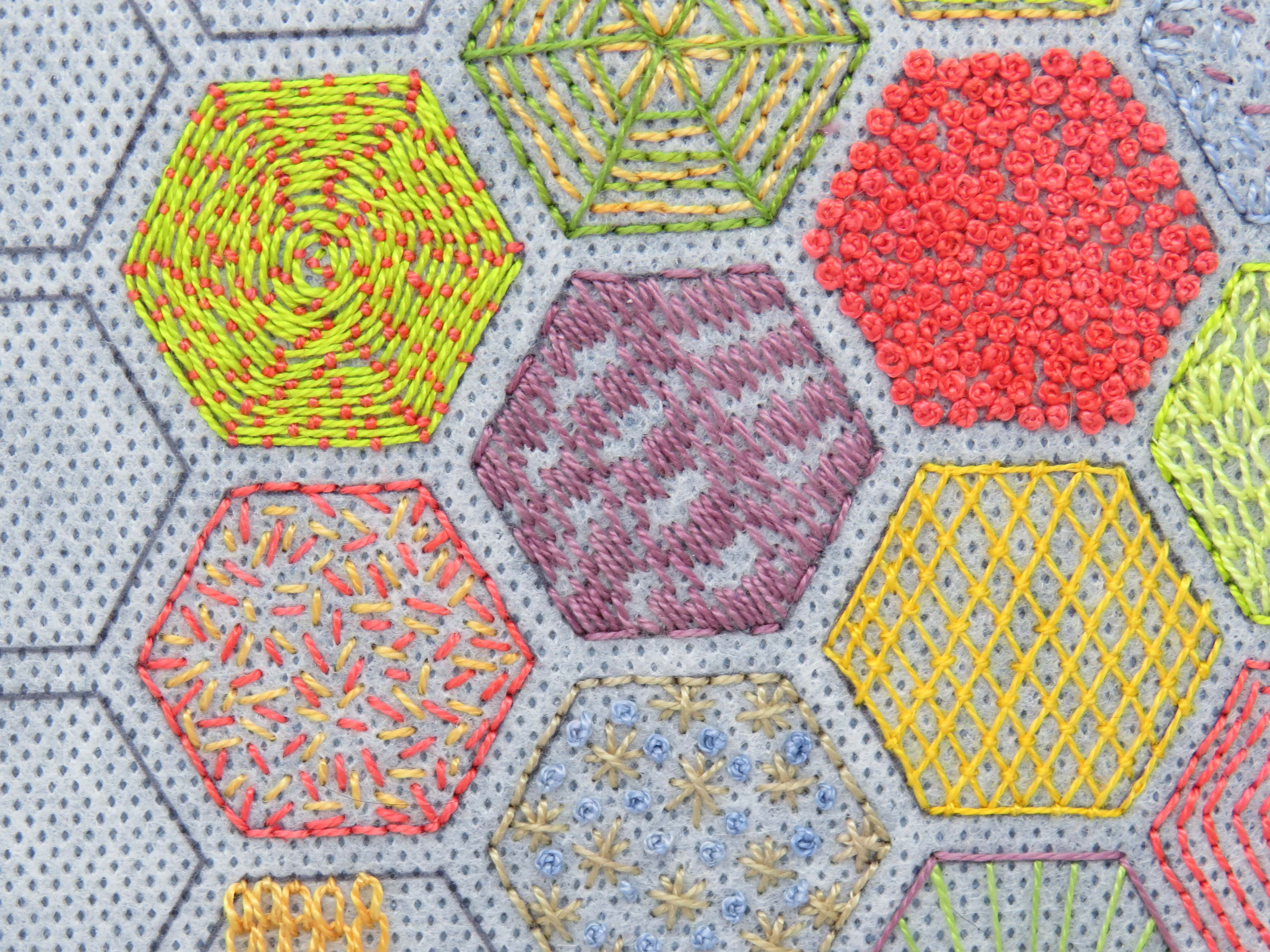 Hexies hand embroidery pattern by stitchdoodles