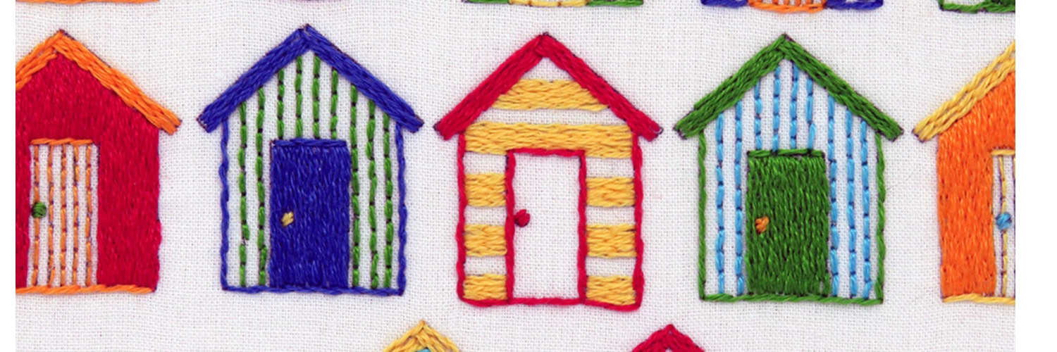 Beach Huts hand embroidery pattern by stitchdoodles