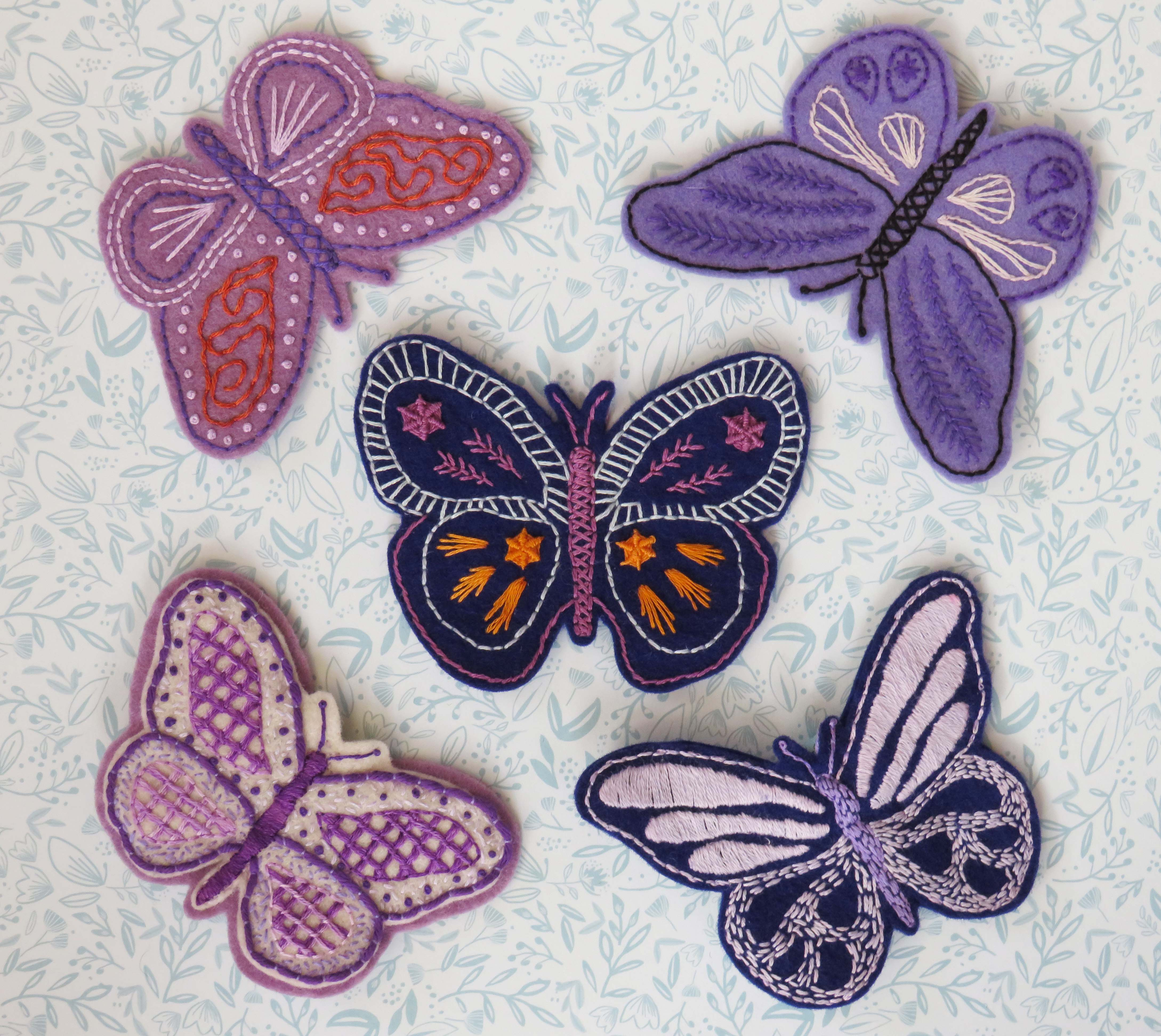 butterfly hand embroidery pattern for fibromyalgia