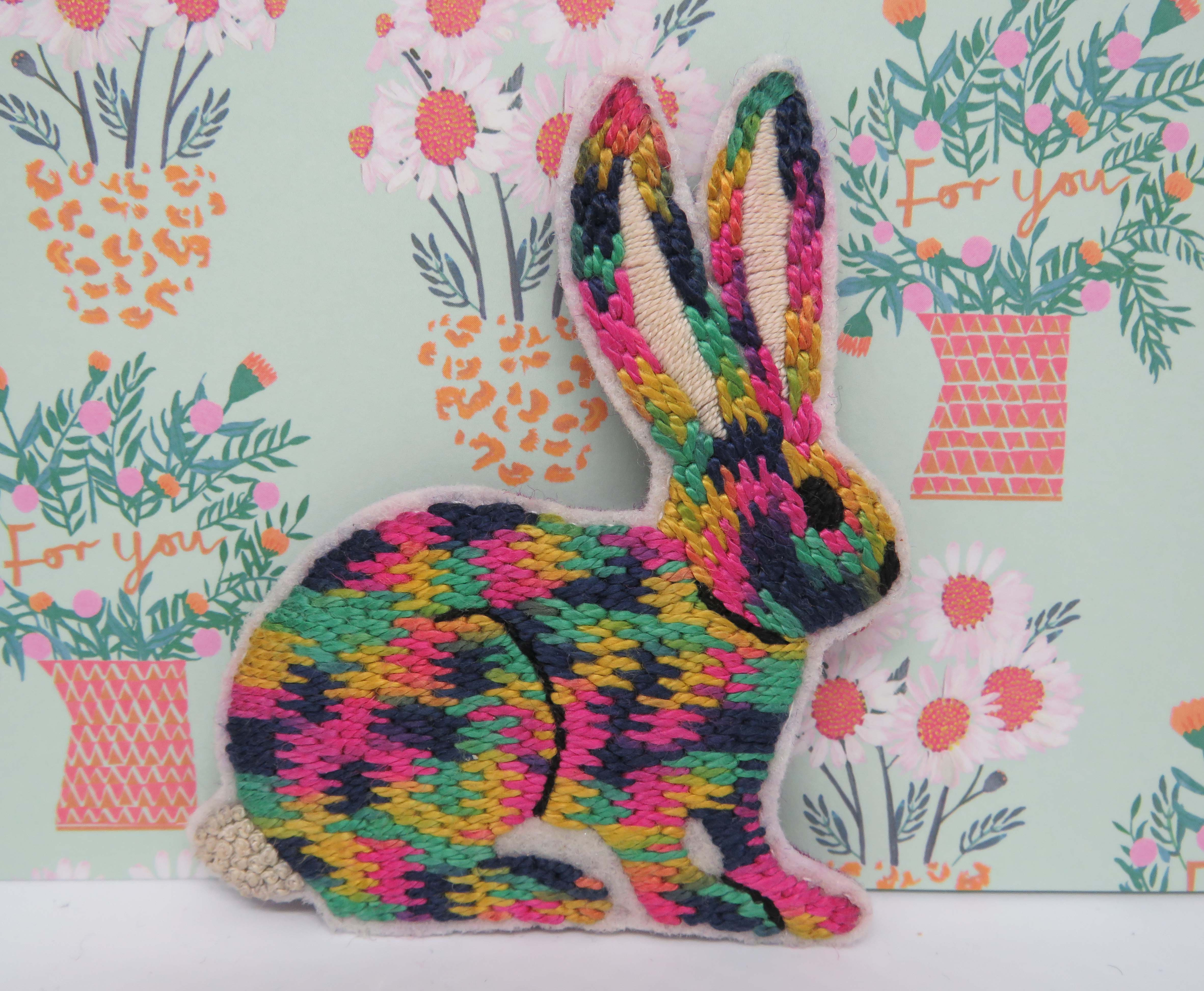 hand embroidered rabbit brooch by stitchdoodles