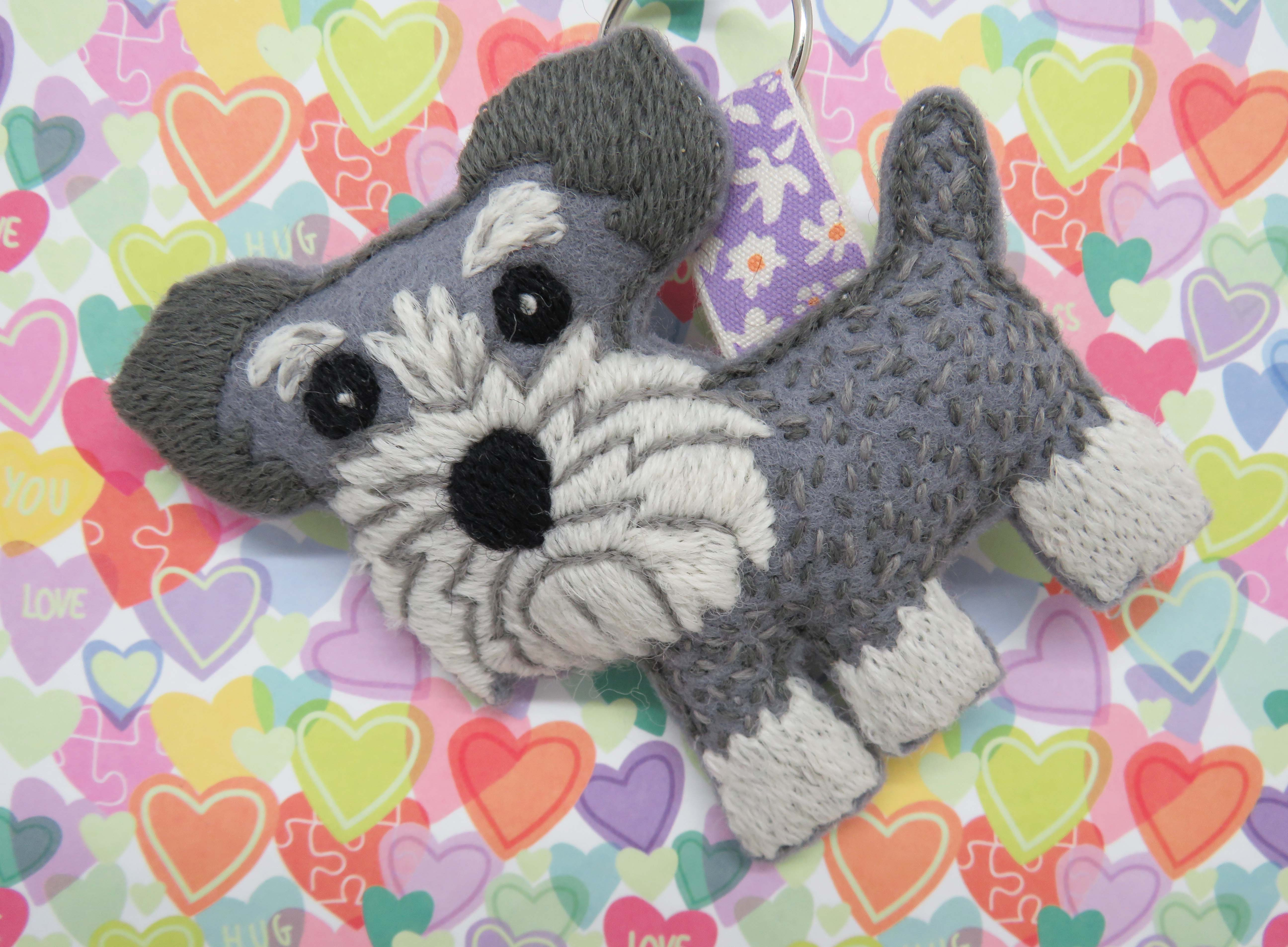 hand embroidery schnauzer pattern by stitchdoodles