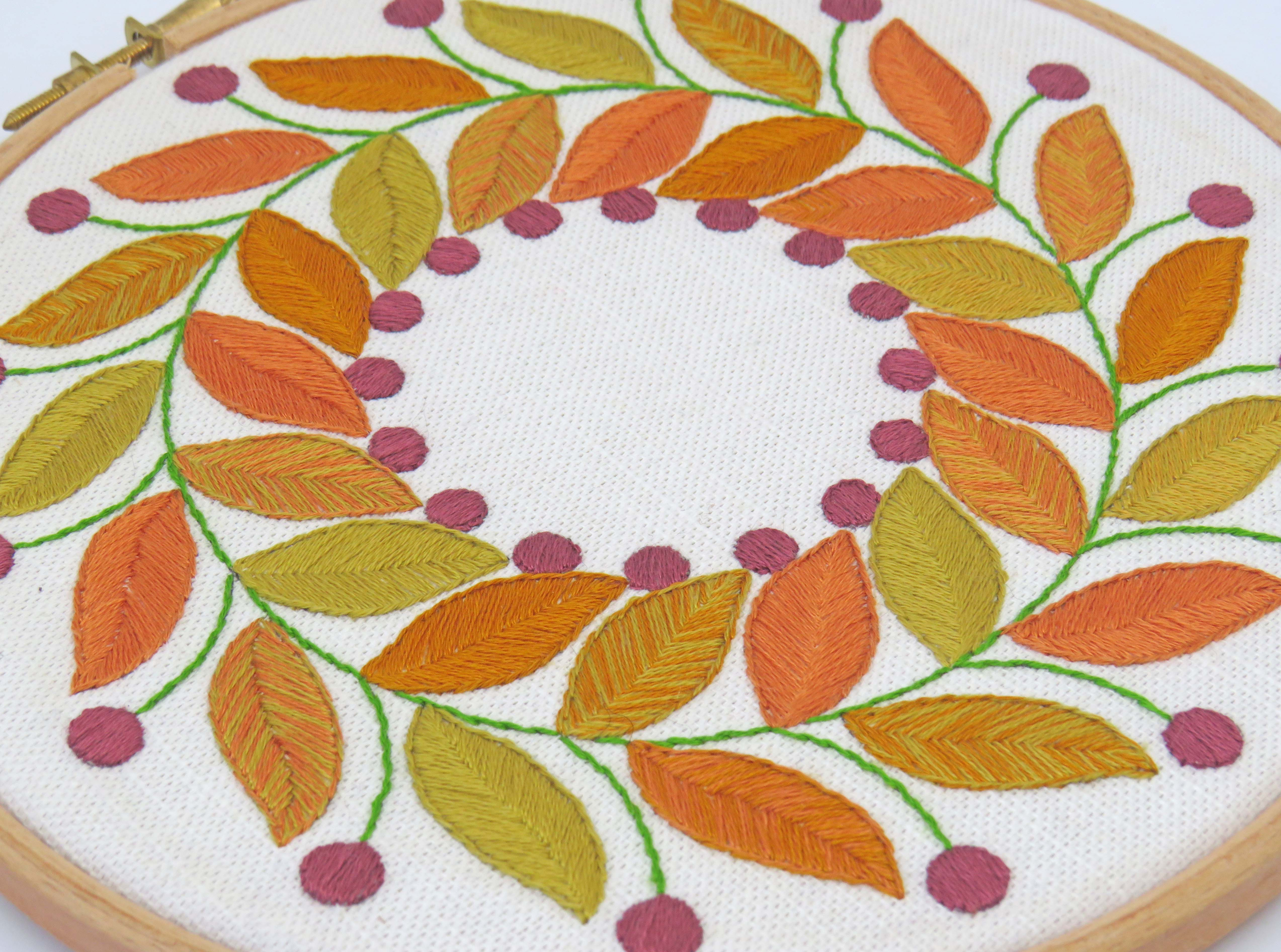 golden leaves hand embroidery pattern by StitchDoodles