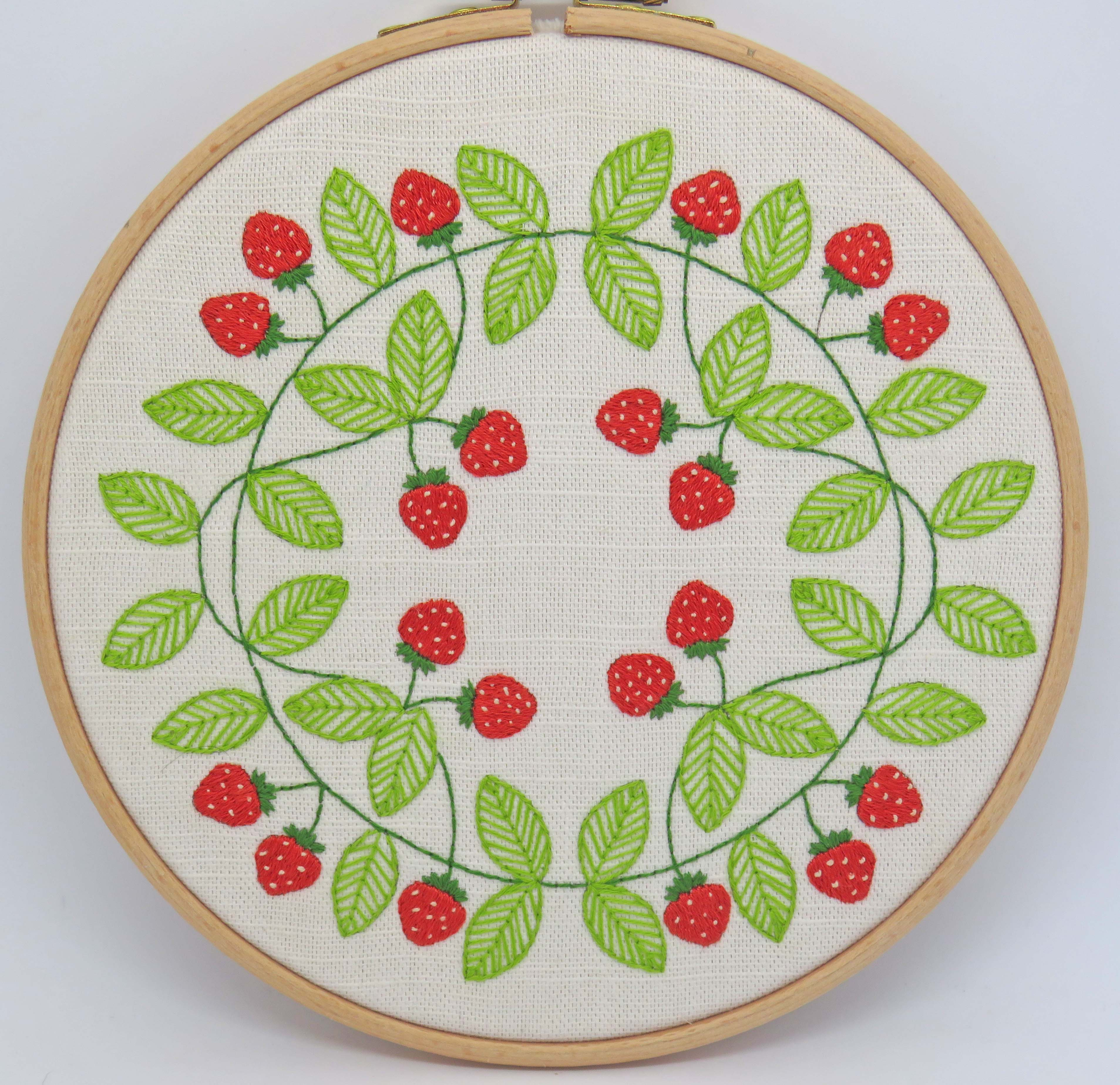 Strawberry swirl hand embroidery pattern by StitchDoodles
